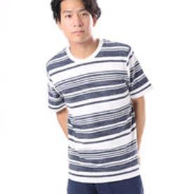 コムサイズム COMME CA ISM かすれボーダーTシャツ (ネイビー)