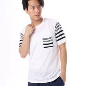 コムサイズム COMME CA ISM 異素材コンビネーションTシャツ (ホワイト)