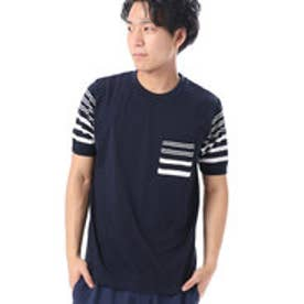 コムサイズム COMME CA ISM 異素材コンビネーションTシャツ (ネイビー)