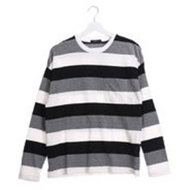 コムサイズム COMME CA ISM 表面感ある素材のボーダービッグTシャツ (ブラック)