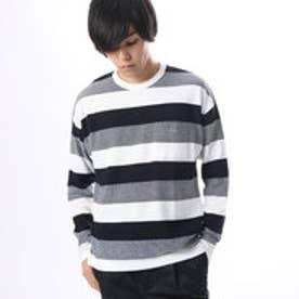 コムサイズム COMME CA ISM 表面感ある素材のボーダービッグTシャツ (ネイビー)