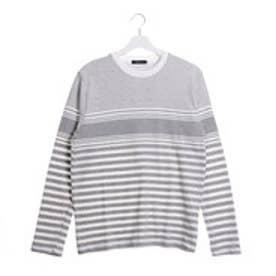 コムサイズム COMME CA ISM 表面感ある素材のパネルボーダーTシャツ (グレー)