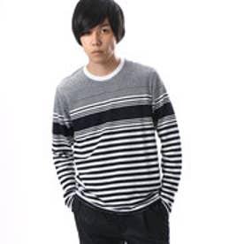 コムサイズム COMME CA ISM 表面感ある素材のパネルボーダーTシャツ (ネイビー)