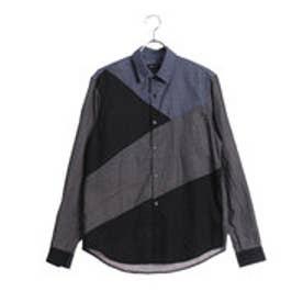 コムサイズム COMME CA ISM パッチワークコンビネーションシャツ (チャコール)