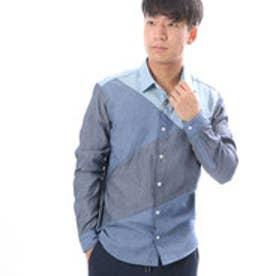 コムサイズム COMME CA ISM パッチワークコンビネーションシャツ (ブルー)