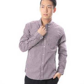 コムサイズム COMME CA ISM こなれたカラーリングのギンガムツイルシャツ (ワイン)