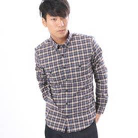 コムサイズム COMME CA ISM ストレッチネルチェックシャツ (ネイビー)