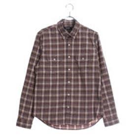 コムサイズム COMME CA ISM ストレッチネルチェックシャツ (ベージュ)