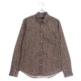 コムサイズム COMME CA ISM フラワープリントシャツ (ブラウン)