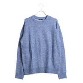 コムサイズム COMME CA ISM とても軽く暖かい起毛素材のクループルオーバー (ブルー)