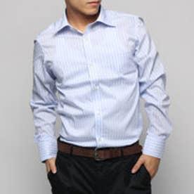コムサイズム COMME CA ISM レギュラーカラー長袖ドレスシャツワイドストライプ (サックス)