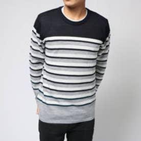 コムサイズム COMME CA ISM 配色ボーダーニット×Tシャツ (ネイビー)