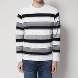コムサイズム COMME CA ISM しっかり素材の長袖ボーダーTシャツ (ホワイト)