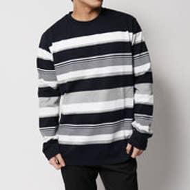 コムサイズム COMME CA ISM しっかり素材の長袖ボーダーTシャツ (ネイビー)