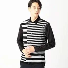 コムサイズム COMME CA ISM インターシャボーダーニットコンビシャツ (ブラック)
