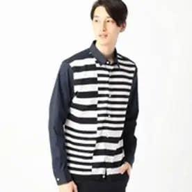 コムサイズム COMME CA ISM インターシャボーダーニットコンビシャツ (ネイビー)