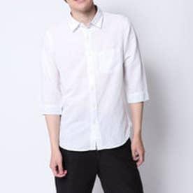 コムサイズム COMME CA ISM リネンコットン7分袖シャツ (ホワイト)