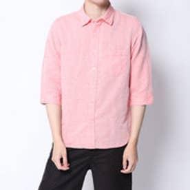 コムサイズム COMME CA ISM リネンコットン7分袖シャツ (オレンジ)