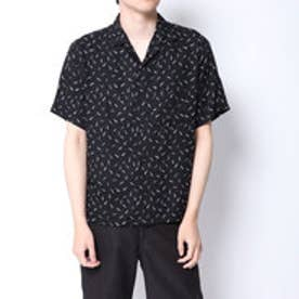 コムサイズム COMME CA ISM アート柄プリントオープンカラーシャツ (ブラック)