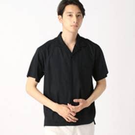 コムサイズム COMME CA ISM コットンレーヨンオープンカラーシャツ (ブラック)