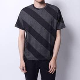 コムサイズム COMME CA ISM ジャカードTシャツ (ネイビー)