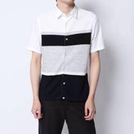 コムサイズム COMME CA ISM ニットコンビシャツ (ホワイト)