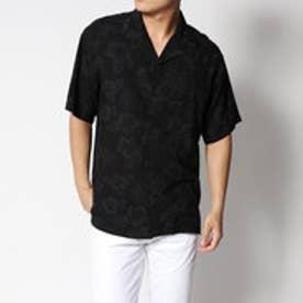 コムサイズム COMME CA ISM ダーク アロハ オープン カラー シャツ (ブラック)