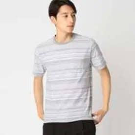 コムサイズム COMME CA ISM ジャカード ボーダー Tシャツ (グレー)