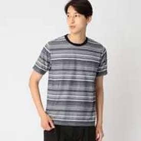 コムサイズム COMME CA ISM ジャカード ボーダー Tシャツ (ネイビー)
