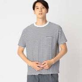 コムサイズム COMME CA ISM ジャカード ボーダー Tシャツ (ホワイト)