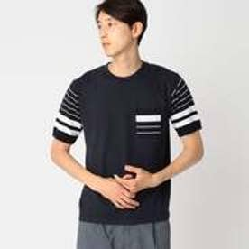 コムサイズム COMME CA ISM ニット ドッキング Tシャツ (ネイビー)