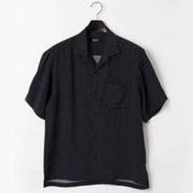 コムサイズム COMME CA ISM ドット プリント オープンカラー シャツ (ネイビー)