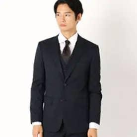 コムサイズム COMME CA ISM 《セットアップ》ウールギャバ スーツジャケット (ネイビー)
