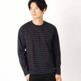 コムサイズム COMME CA ISM ドロップショルダー ボーダーTシャツ (ネイビー)