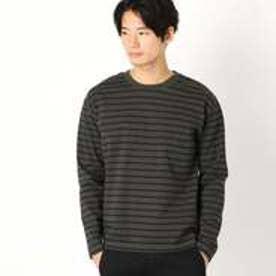 コムサイズム COMME CA ISM ドロップショルダー ボーダーTシャツ (カーキ)