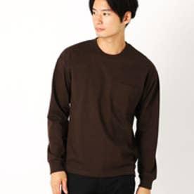 コムサイズム COMME CA ISM ドロップショルダー ベーシック Tシャツ (ブラウン)