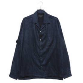 コムサイズム COMME CA ISM フェイクスウェード オープンカラーシャツ (ネイビー)