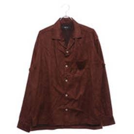 コムサイズム COMME CA ISM フェイクスウェード オープンカラーシャツ (ブラウン)