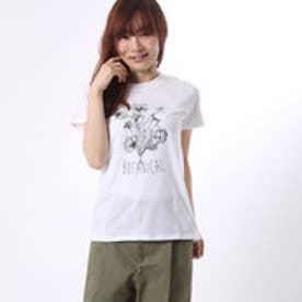 コムサイズム COMME CA ISM フラワープリントのクルーネックTシャツ (ホワイト)
