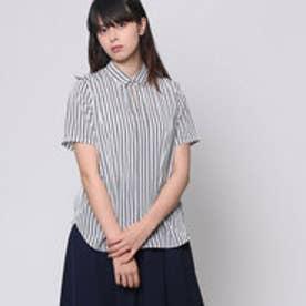 コムサイズム COMME CA ISM デザインシャツブラウス (ホワイト×ネイビー)