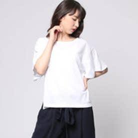 コムサイズム COMME CA ISM 揺れるフレアが女性らしい印象のデザインTシャツ (ホワイト)
