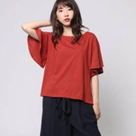 コムサイズム COMME CA ISM 揺れるフレアが女性らしい印象のデザインTシャツ (レンガ)
