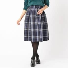 コムサイズム COMME CA ISM チェック柄 ギャザーフレアースカート (ネイビー)