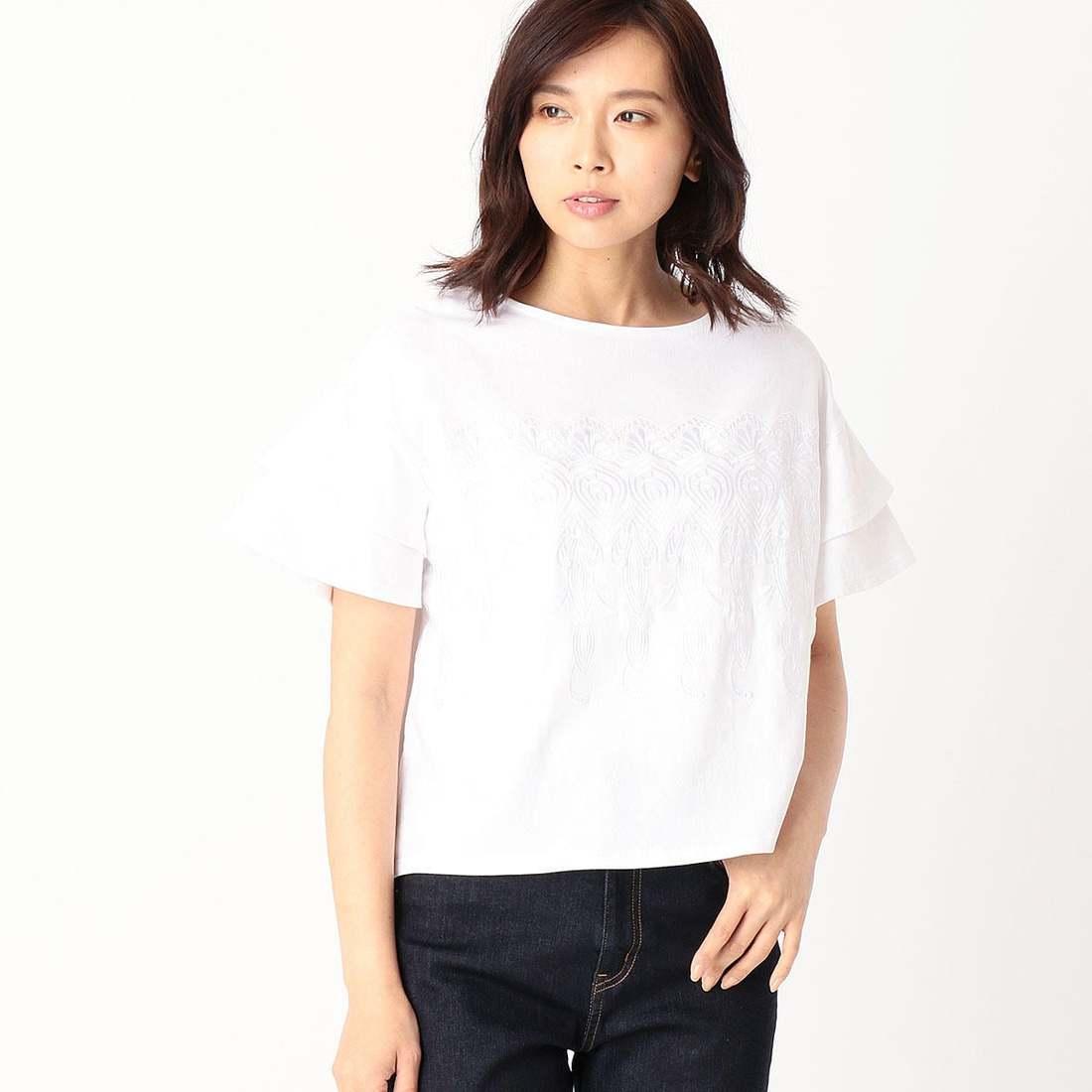 コムサイズム COMME CA ISM フレアースリーブ 刺繍カットソー (ホワイト)