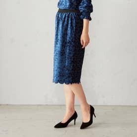 コムサイズム COMME CA ISM 【セットアップ対応】 【結婚式・2次会にも】ベロア 刺繍レース スカート (ブルー)