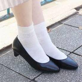 フィン Fin 【低反発スポンジ入り】ローヒールレザーパンプス (ブラック)