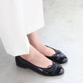 フィン Fin 【低反発スポンジ入り】ラウンドコンビバレエシューズ (ブラック)