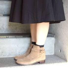 フィン Fin 【低反発スポンジ入り】ベルトショートブーツ (キャメルスエード)