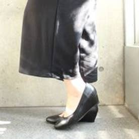 フィン Fin 【低反発スポンジ入り】ローヒールウェッジパンプス (ブラック)