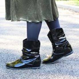 フィン Fin 【レイン対応】ギャザーショートブーツ (ブラック)